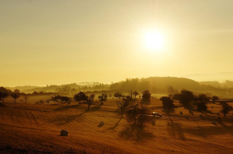 Sunrise, Landscape, Fields, Lonely, Autumn, Germany