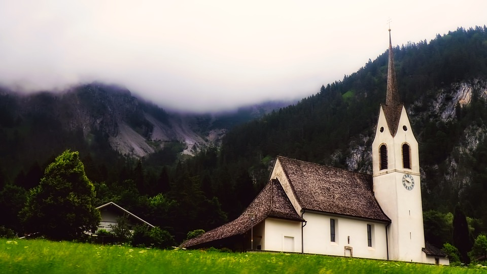 Church, Mountains, Fog, Sunrise, Landscape, Valley