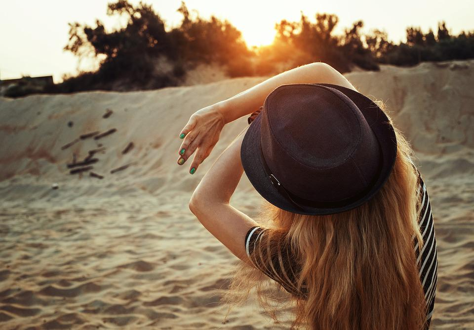 Dawn, Sunrise, Sun, Beach, Sand, Girl, Landscape
