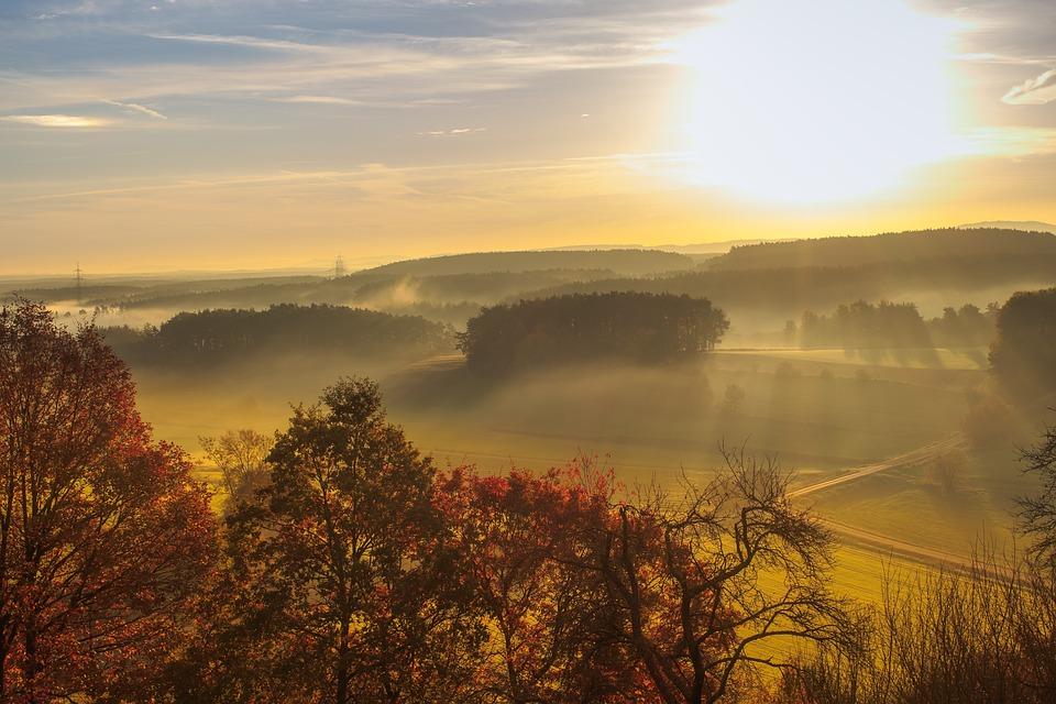 Sunrise, Away, Landscape, Morgenrot, Nature, Trees