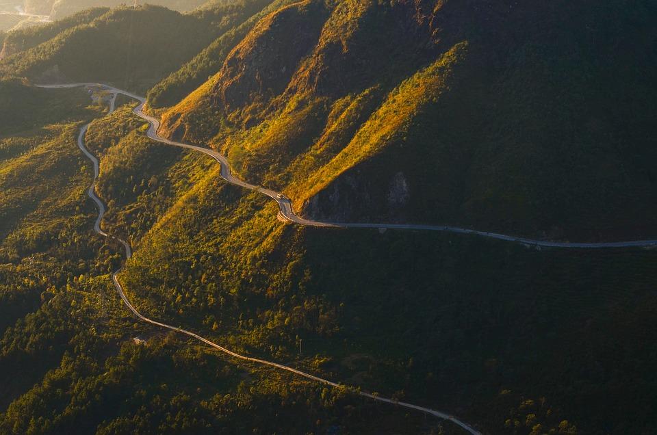Mountain Pass, Mountains, Sunrise, Road, Landscape