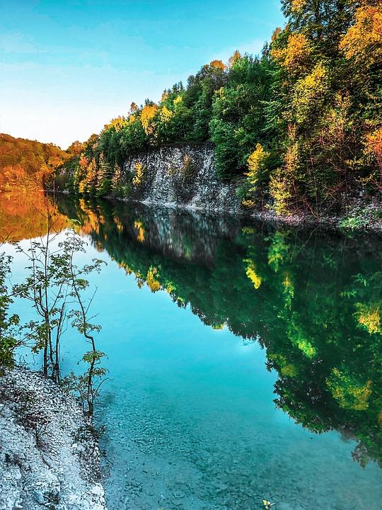 Landscape, Water, Lake, Colorful, Sunrise, Color, Blue