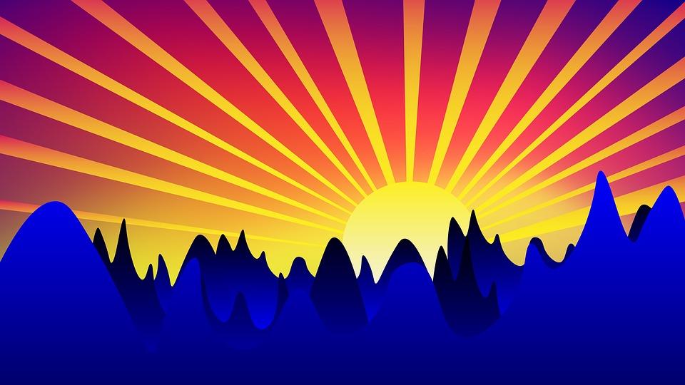 Sunrise, Background, Sun, Landscape, Mountains, Sunset