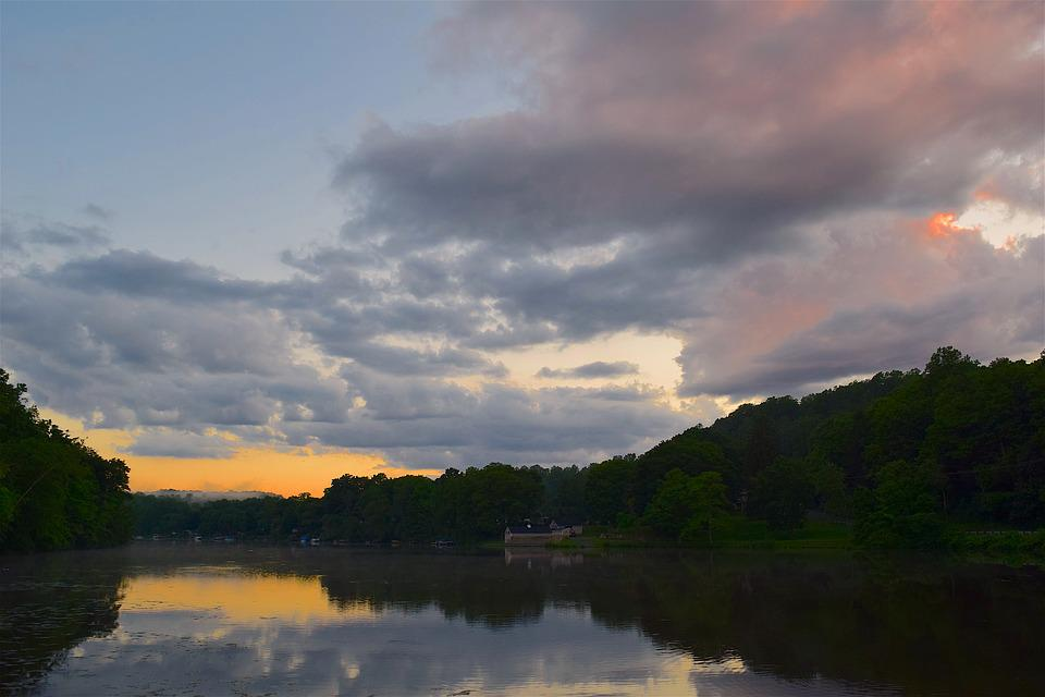 Lake, Sky Water, Sunset, Clouds, Nature, Landscape