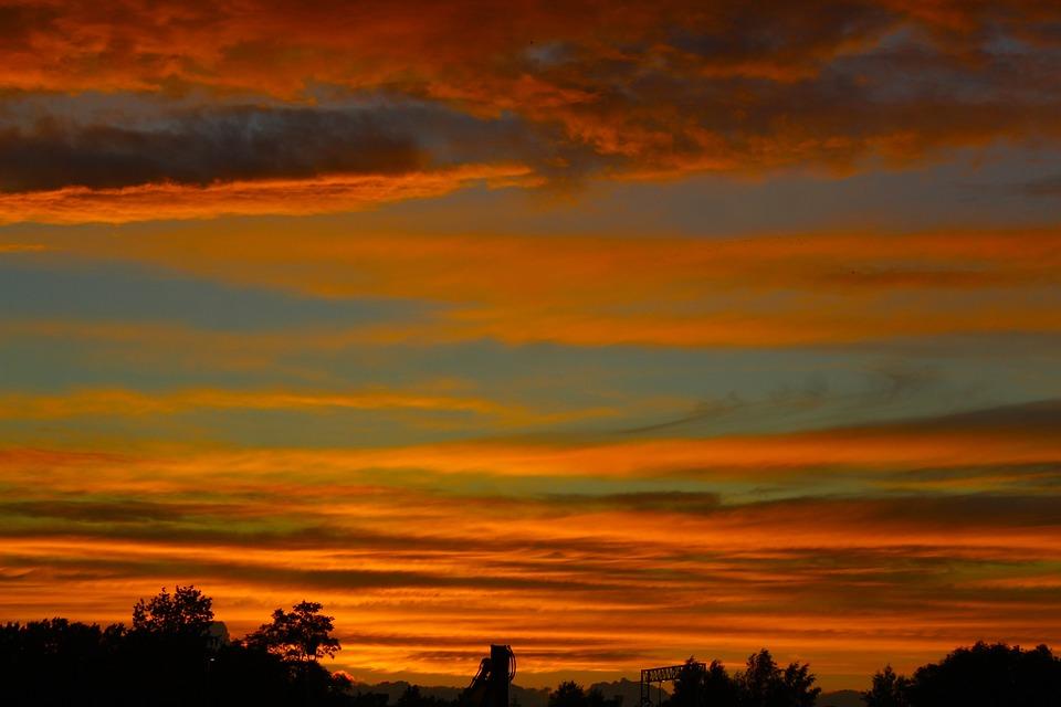 Nature, View, Landscape, Sunset, Dark, Clouds, Orange