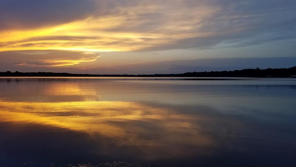 Sunset, Lake, Water, Sky, Nature, Landscape, Reflection