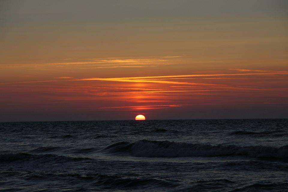 Holidays, Sea, Landscape, The Baltic Sea, Sunset