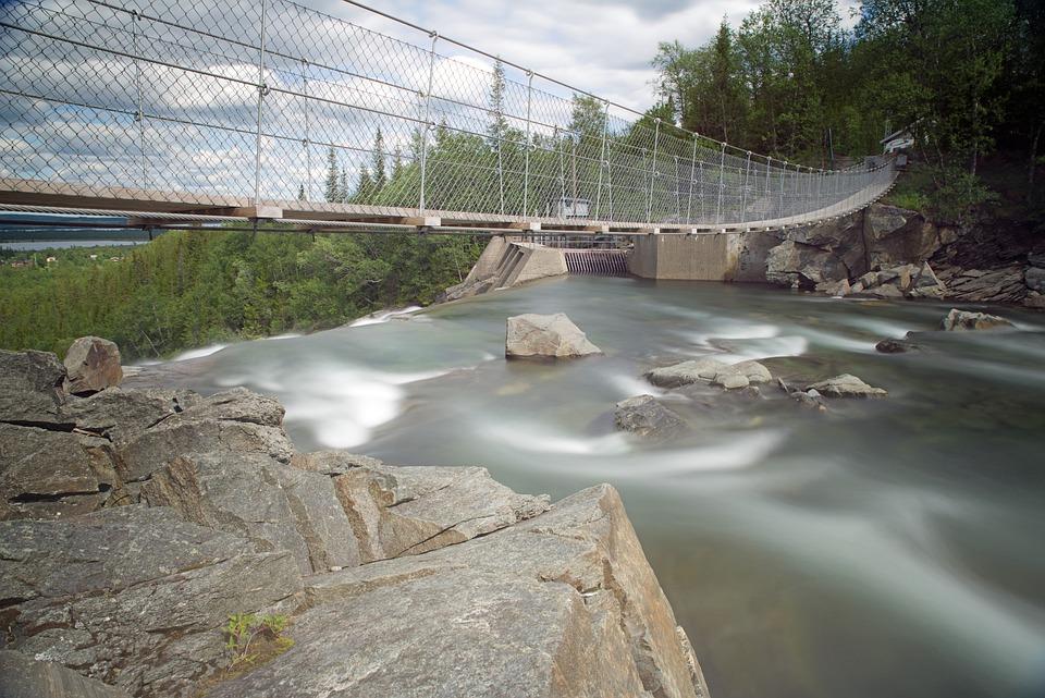 Suspension Bridge, Sweden, Fjäll, Landscape, Bridge