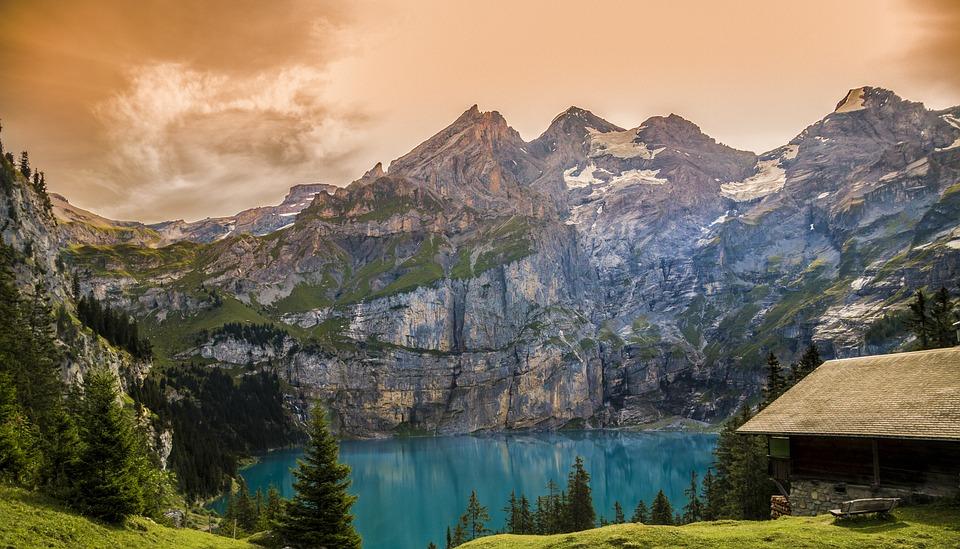 Nature, Landscape, Lake Oeschinen, Switzerland