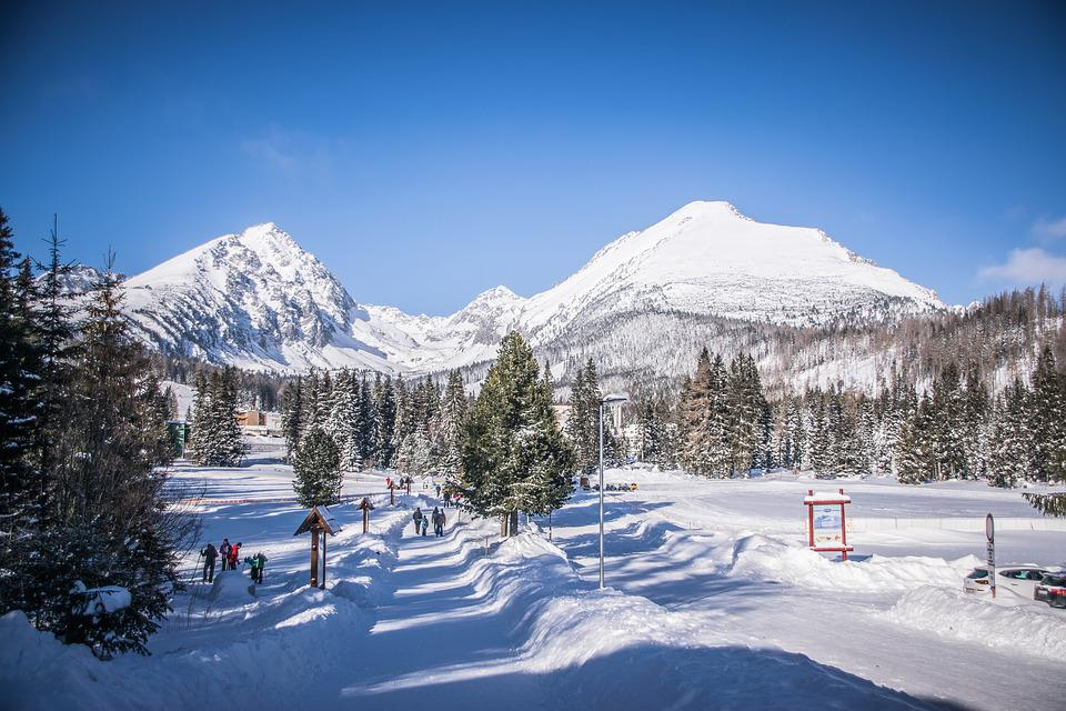 Mountains, Winter, Snow, Blue, Nature, Trees, Landscape