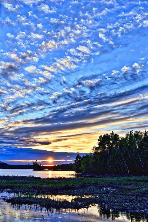 Sunset, Twilight, Landscape, Evening, Clouds, Lake