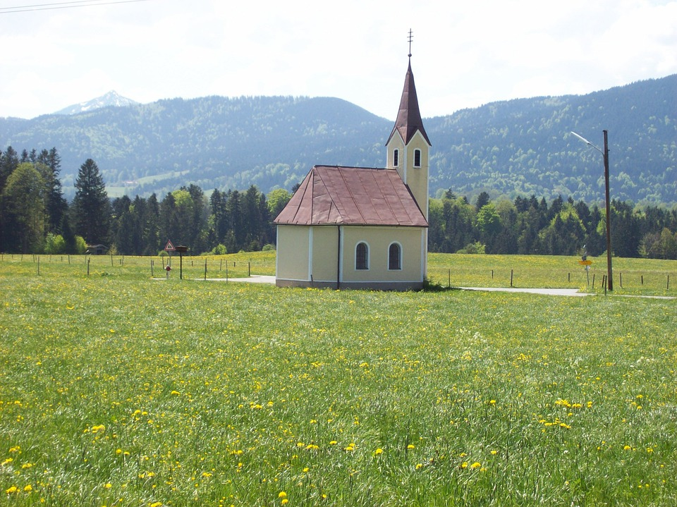 Chapel, Foothills Of The Alps, View, Bavaria, Landscape
