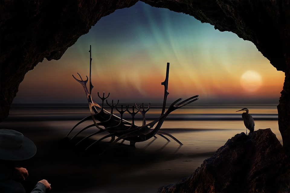 Stranded, Composing, Landscape, Wasteland, Viking Ship