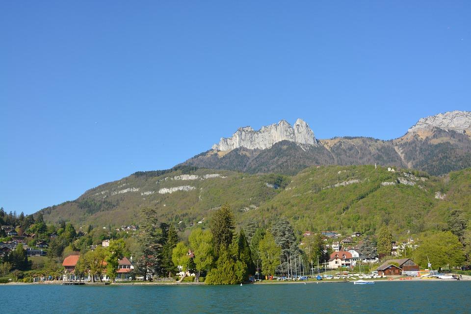 Mountains, Nature, Blue Sky, France, Landscape, Water