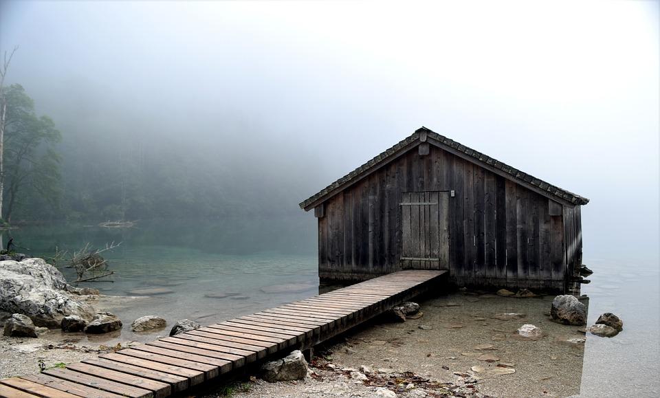 Lake, Fog, Hut, Web, Water, Landscape, Nature, Rest