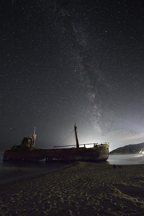 Shipwreck, Milky Way, Sea, Water, Night, Sky, Landscape