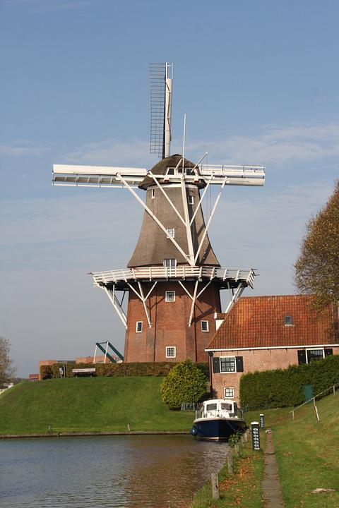 Windmill, Netherlands, Holland, Landscape, Mill, Water