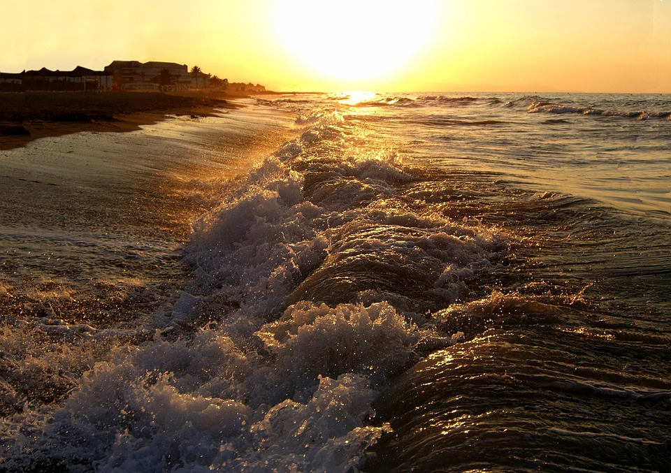 Sunset, Sea, Waves, Beach, Nature, Water, Landscape