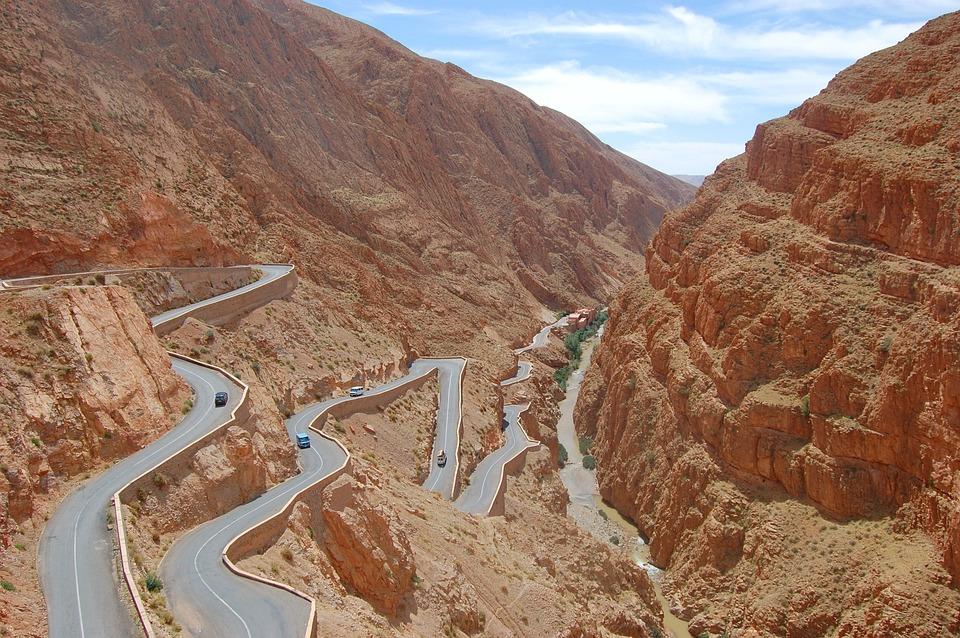 Way, Streamer, Mountains, Landscape, View, Asphalt