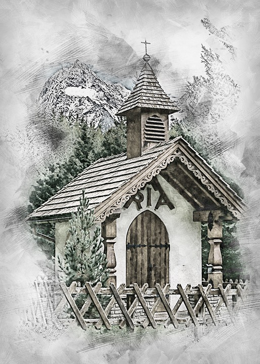 Autumn, Landscape, Mountains, Wayside Chapel