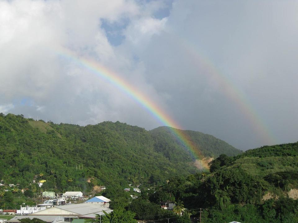 Double Rainbow, Landscape, Sky, Weather, Colorful, View