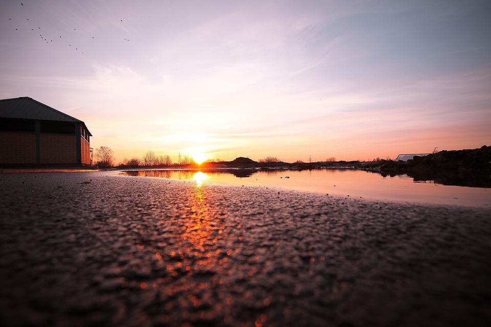 The Sun, West, Colors, Twilight, Landscape, Nature, Red