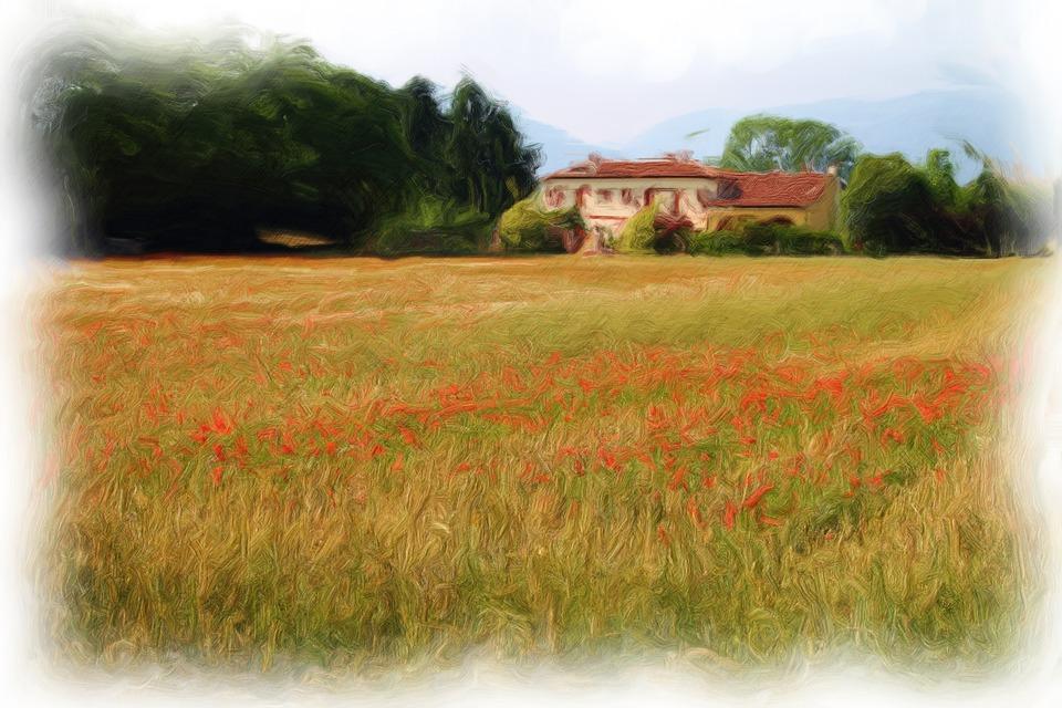 Landscape, Painting, Wheat, Art