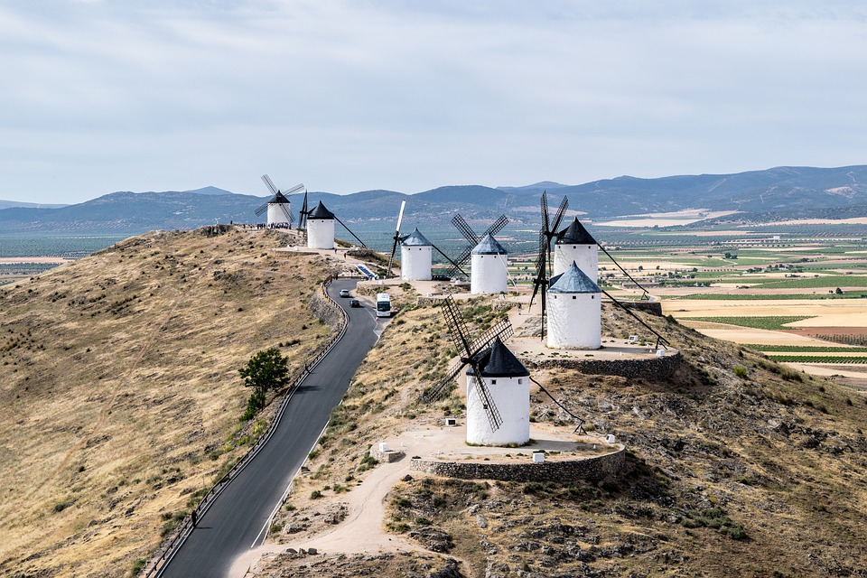 Windmills, Consuegra, Don Quixote, Landscape, Toledo