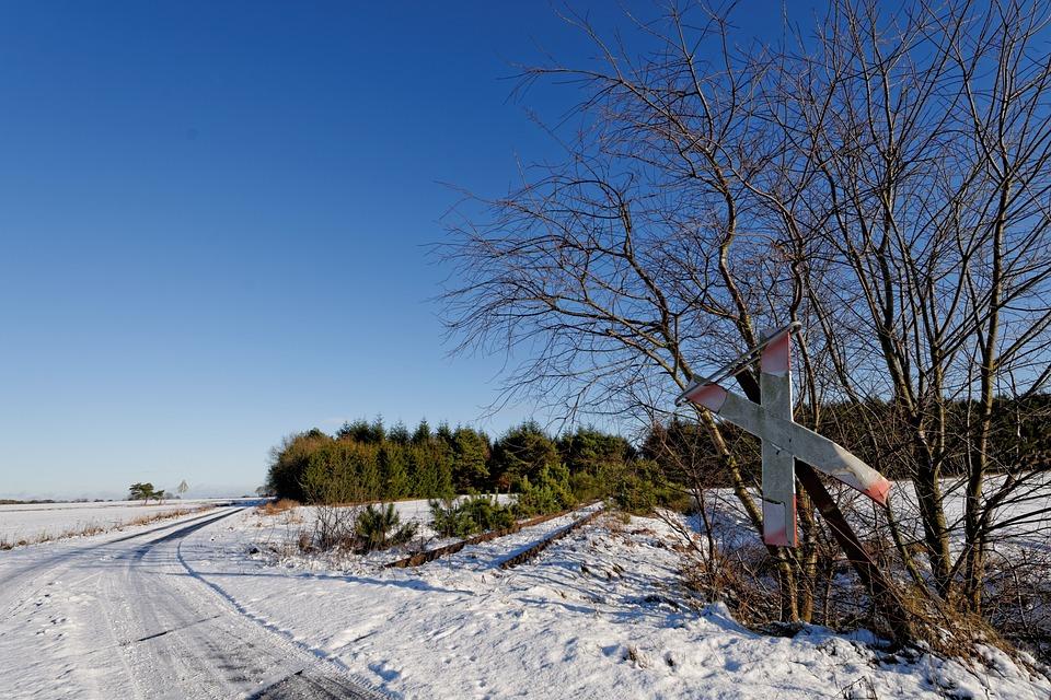 Snow, Landscape, Railway, Winter, Lower Saxony