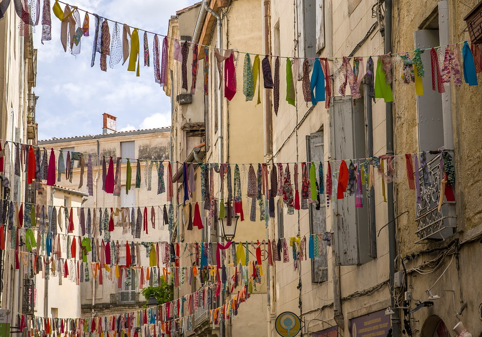 France, Montpellier, Lane, Medieval Town, Banners