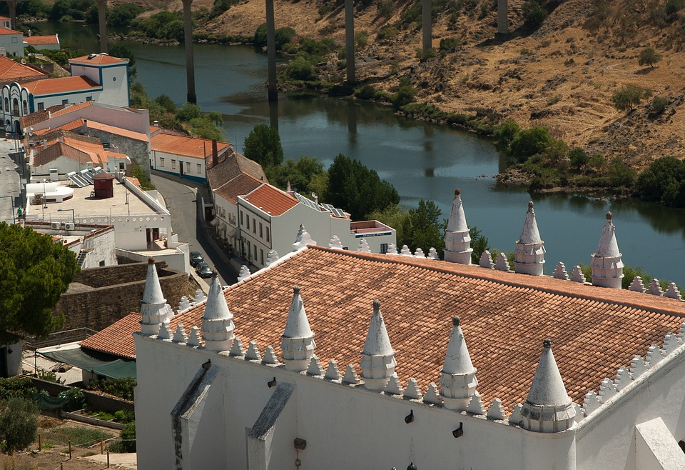 Portugal, Village, Church, Lane, River