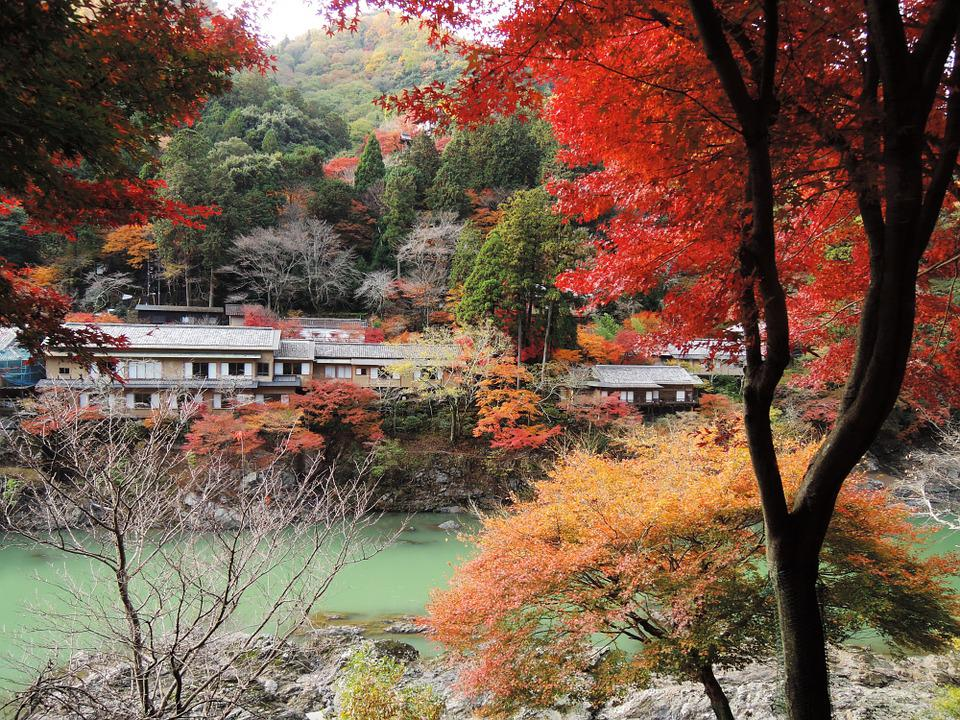 Lanshan, Sagano, Maple Leaf, River, Autumn