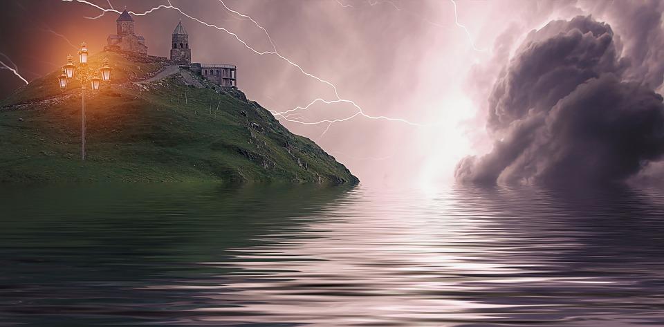 Castle, Mountain, Abbey, Sea, Lantern, Lightning, Sky