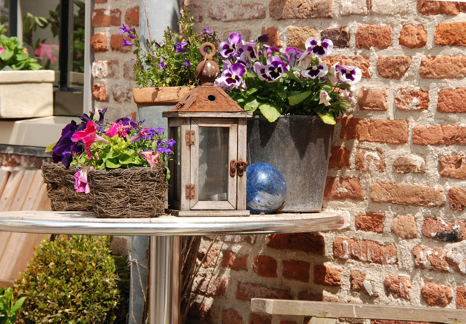 Table, Plant, Flower, Lantern, Wall, Decoration