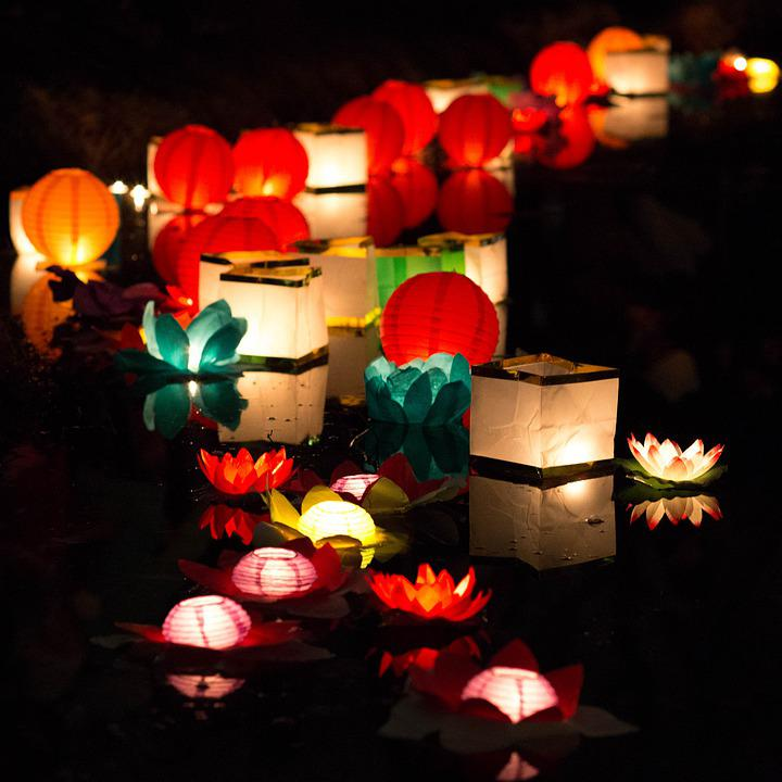 Night, Colors, Water, Colorful, Light, Lantern