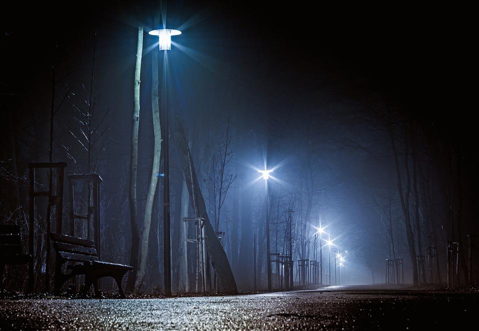 The Park At Night, Dark Street, Night, Lanterns