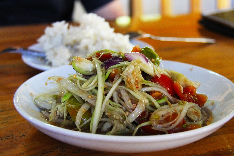 Salad, Lao Salad, Rice, Lunch, Luang Prabang, Laos