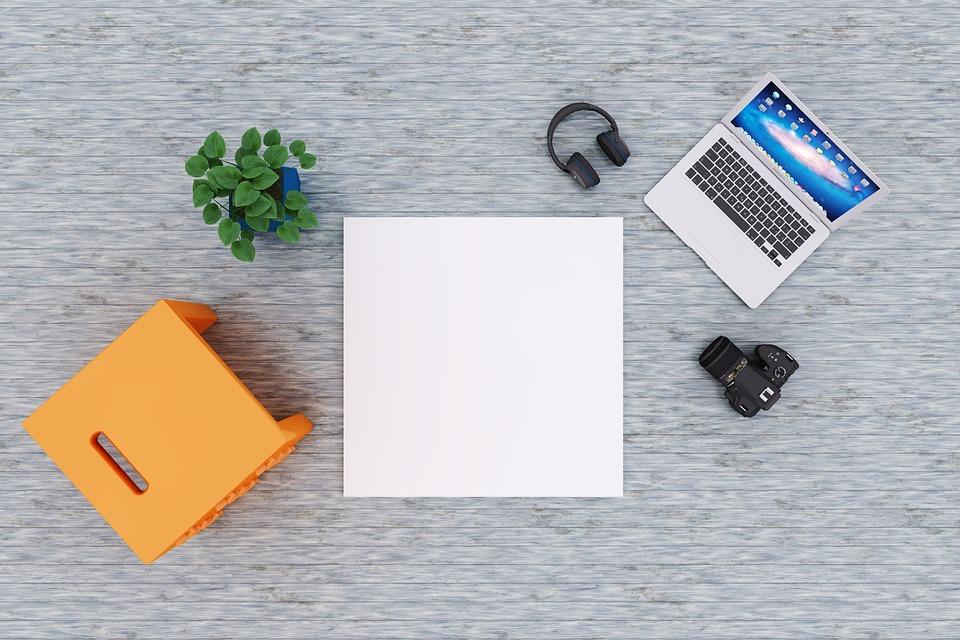 Notebook, Laptop, Poster, Mockup, Indoor, Interior