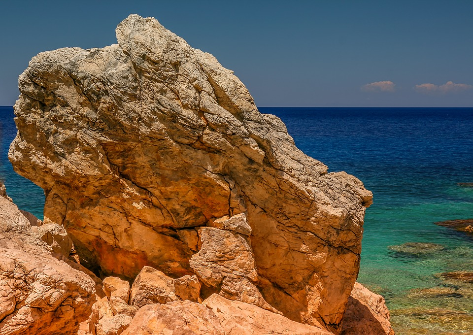 Rock, Stone, Large, Rugged, Mediterranean, Greece