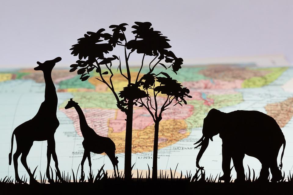 Africa, Silhouette, Laser Cut, Giraffe, Tree, Elephant