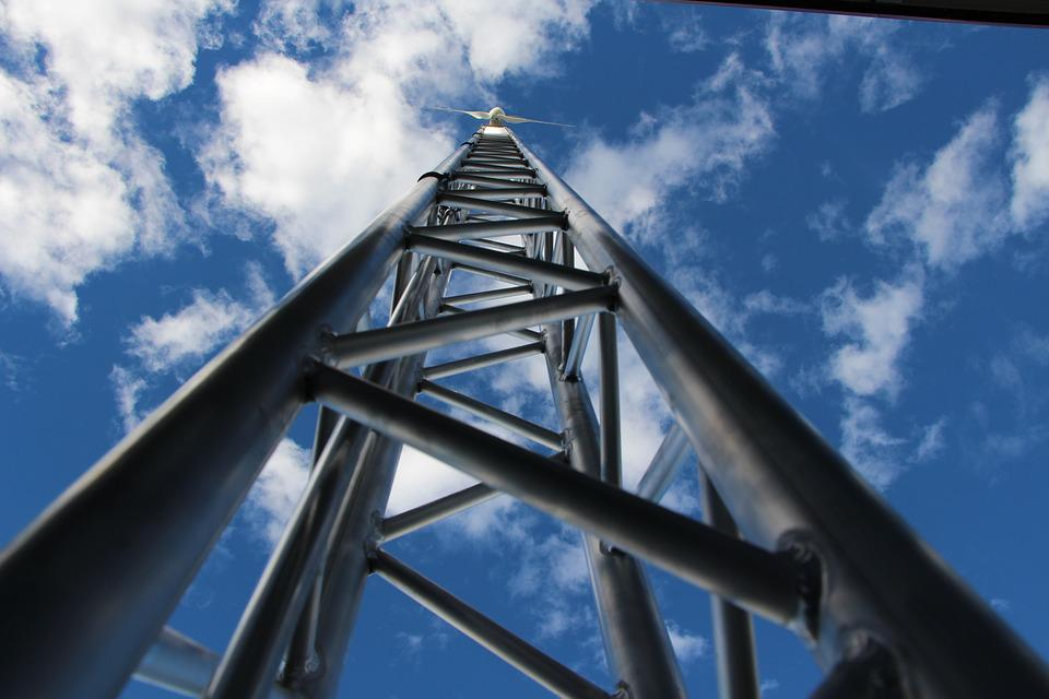 Pinwheel, Mast, Lattice, Regenerative, Sky, Clouds