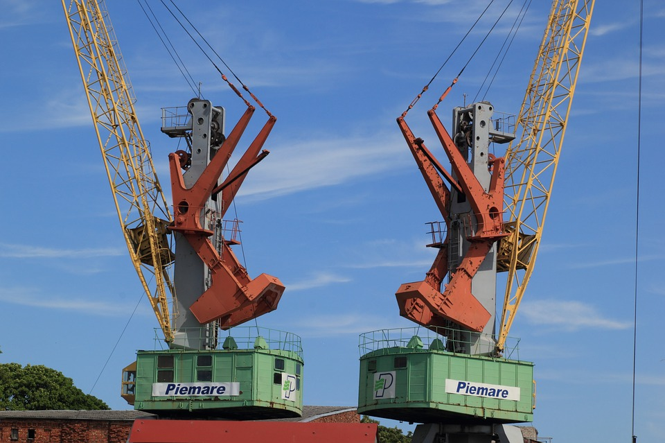 Latvia, Liepaja, Harbour, Cranes, Water