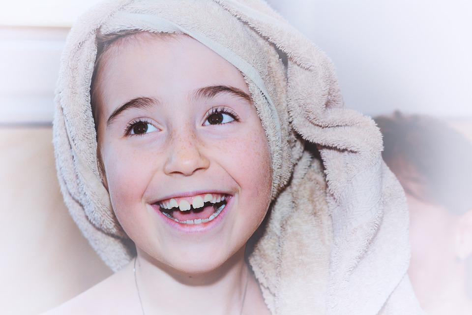 Child, Girl, Face, Towel, Laugh, Portrait, Close