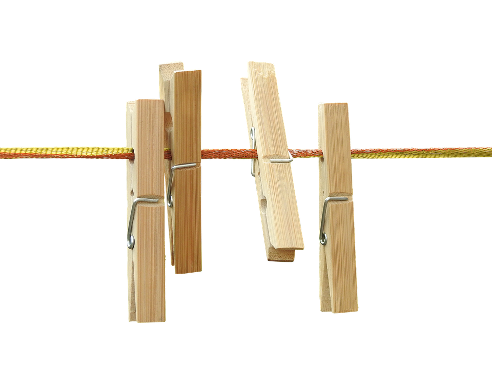 Clothespins, Isolated, Wood, Leash, Laundry, Budget