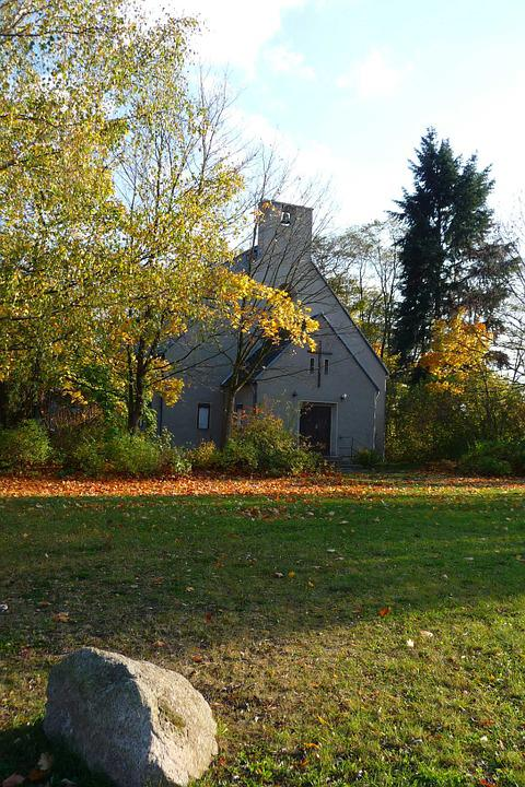 Bachkirche, Church, Forestry, Lausitz, Autumn, Leaves