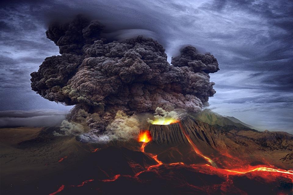 Landscape, Volcano, Eruption, Lava, Mountain, Smoke