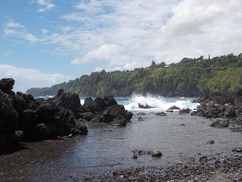 Lava Rock, Waves, Hawaii, Ocean, Pacific, Sea, Surf