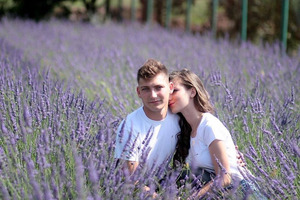 Couple, Lavender, Love, Romance, Happiness, Beauty