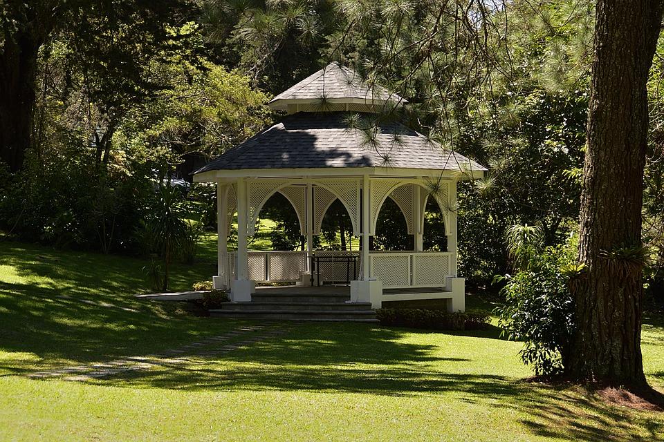 Kiosk, Lawn, Green, Grass, Field, Prado, Spring, Park