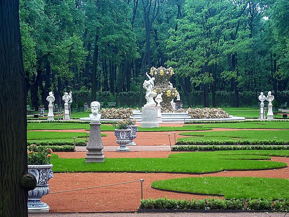 Garden, Summer Garden, Statues, Lawn, Corridors, Trees